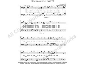 Give me Joy in my heart Male Choir Sheet Music TB 2-part Make unlimited copies of sheet music and the practice music.