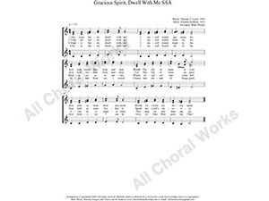 Gracious Spirit Dwell With Me Female Choir Sheet Music SSA 3-part Make unlimited copies of sheet music and the practice music.