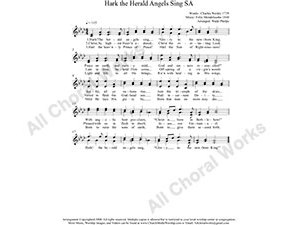 Hark the Herald Angels Sing Female Choir Sheet Music SA 2-part Make unlimited copies of sheet music and the practice music.