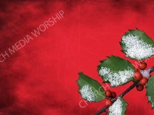 Holly with Snow - Red Paper Christian Worship Background. High quality worship images for use to spread the Gospel and enhance the worship experience.