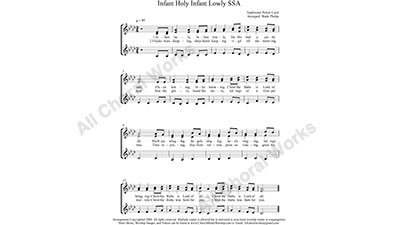Infant Holy Female Choir Sheet Music SSA 3-part Make unlimited copies of sheet music and the practice music.