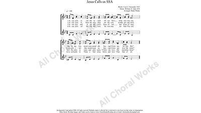 Jesus Calls Us Female Choir Sheet Music SSA 3-part Make unlimited copies of sheet music and the practice music.