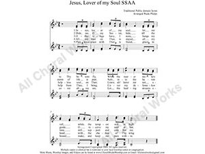 Jesus Lover of my soul Female Choir Sheet Music SSAA 4-part Make unlimited copies of sheet music and the practice music.