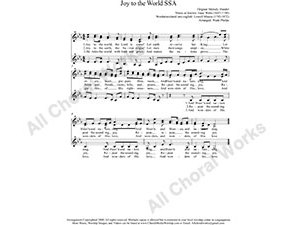 Joy to the World Female Choir Sheet Music SSA 3-part Make unlimited copies of sheet music and the practice music.