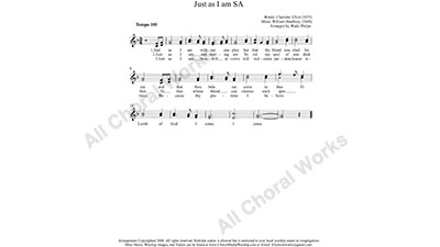 Just as I am Female Choir Sheet Music SA 2-part Make unlimited copies of sheet music and the practice music.