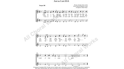 Just as I am Female Choir Sheet Music SSA 3-part Make unlimited copies of sheet music and the practice music.