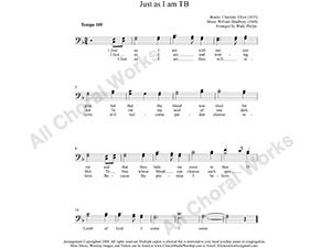 Just as I am Male Choir Sheet Music TB 2-part Make unlimited copies of sheet music and the practice music.