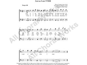 Just as I am Male Choir Sheet Music TTBB 4-part Make unlimited copies of sheet music and the practice music.