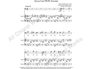 Just as I am with Piano Male Choir Sheet Music TBB 3-part Make unlimited copies of sheet music and the practice music.