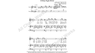 O Holy Night with Piano Female Choir Sheet Music SSAA 4-part Make unlimited copies of sheet music and the practice music.