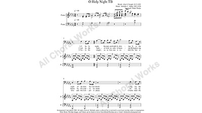 O Holy Night with Piano Male Choir Sheet Music TB 2-part Make unlimited copies of sheet music and the practice music.