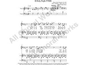 O Holy Night with Piano Male Choir Sheet Music TTBB 4-part Make unlimited copies of sheet music and the practice music.