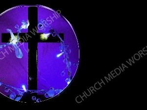 Purple cross with garland Christian Worship Background. High quality worship images for use to spread the Gospel and enhance the worship experience.