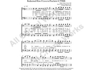Redeemed How I Love To Proclaim It Male Choir Sheet Music TTBB 4-part Make unlimited copies of sheet music and the practice music.