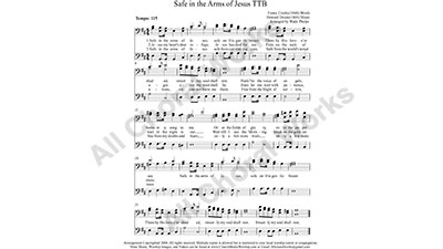 Safe in the Arms of Jesus Male Choir Sheet Music TBB 3-part Make unlimited copies of sheet music and the practice music.