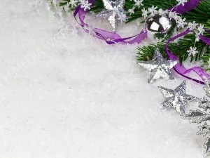 Silver Ornaments purple ribbon evergreen on snow Christian Worship Background. High quality worship images for use to spread the Gospel and enhance the worship experience.