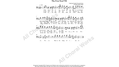 The First Noel Male Choir Sheet Music TB 2-part Make unlimited copies of sheet music and the practice music.