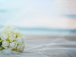 Wedding Bouquet white sheet blue sky Christian Worship Background. High quality worship images for use to spread the Gospel and enhance the worship experience.