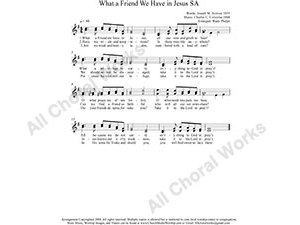 What A Friend We Have in Jesus Female Choir Sheet Music SA 2-part Make unlimited copies of sheet music and the practice music.