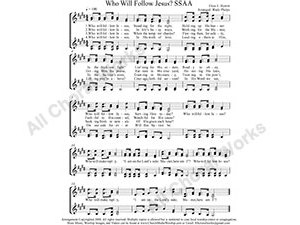 Who will Follow Jesus Female Choir Sheet Music SSAA 4-part Make unlimited copies of sheet music and the practice music.