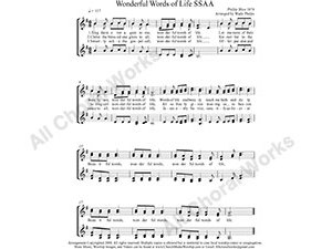 Wonderful Words of Life Female Choir Sheet Music SSAA 4-part Make unlimited copies of sheet music and the practice music.