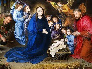 Adoration of the Shepherds vanderGoes Christian Worship Image. High quality worship images for use to spread the Gospel and enhance the worship experience.