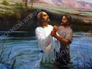 Jesus Baptized V3 Christian Worship Image. High quality worship images for use to spread the Gospel and enhance the worship experience.