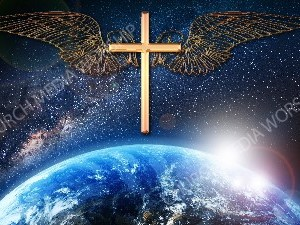 Jesus overlooking the World gold plus wings Christian Worship Image. High quality worship images for use to spread the Gospel and enhance the worship experience.