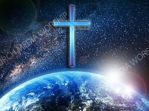 Jesus overlooking the World cross Christian Worship Image. High quality worship images for use to spread the Gospel and enhance the worship experience.