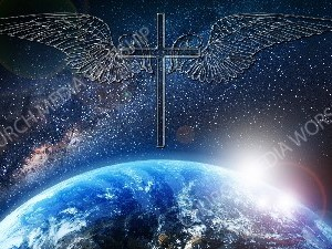 Jesus overlooking the World cross clear with wings Christian Worship Image. High quality worship images for use to spread the Gospel and enhance the worship experience.