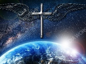 Jesus overlooking the World cross plus wings chrome Christian Worship Image. High quality worship images for use to spread the Gospel and enhance the worship experience.