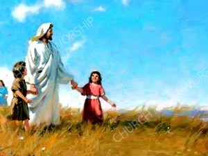 Jesus with the children V8 Christian Worship Image. High quality worship images for use to spread the Gospel and enhance the worship experience.