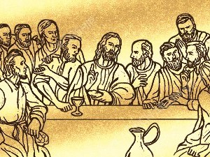 Last Supper Silhouette Gold Christian Worship Image. High quality worship images for use to spread the Gospel and enhance the worship experience.