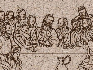 Last Supper Silhouette Stone Christian Worship Image. High quality worship images for use to spread the Gospel and enhance the worship experience.