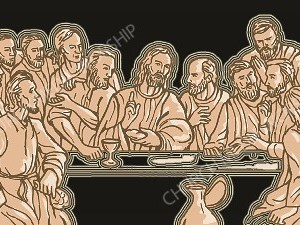 Last Supper Silhouette glow Christian Worship Image. High quality worship images for use to spread the Gospel and enhance the worship experience.