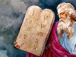 Ten commandments Painting Christian Worship Image. High quality worship images for use to spread the Gospel and enhance the worship experience.