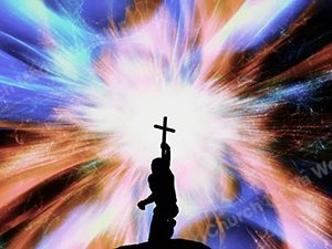 Holding a cross Fast Christian Worship Loop Video Perfectly timed for no glitches in 1080P HD. Room for lyrics