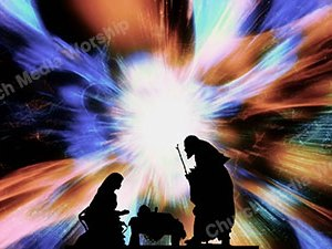 Nativity in Space slow Christian Worship Loop Video Perfectly timed for no glitches in 1080P HD. Room for lyrics