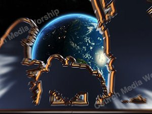 Nativity over the earth Christian Animated Still A professional animated intro that's stops on a still image without continuous movements or distraction.