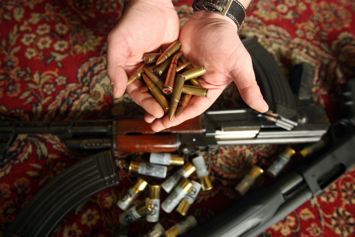 Weapons and ammunition seized from a mosque