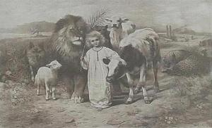 """""""Peace"""", an etching by William Strutt, 1896, based upon Isaiah 11:6-7Public domain"""
