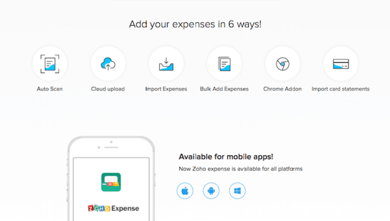 Zoho free mobile expense report app