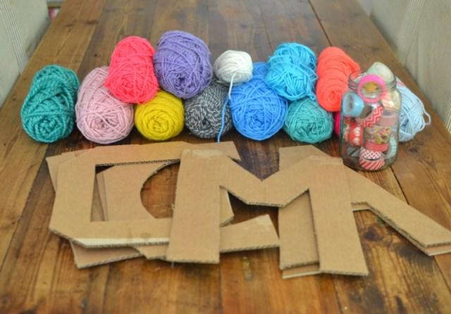 Yarn Wrapped Cardboard Letters - ARTBAR