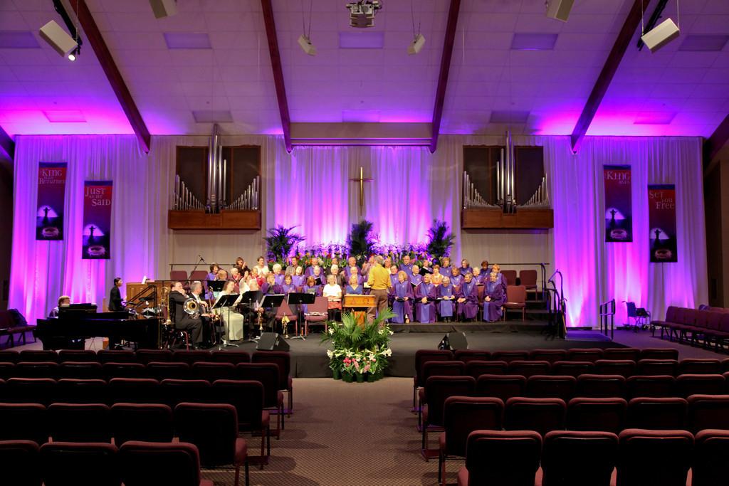 Purple Spread  Church Stage Design Ideas