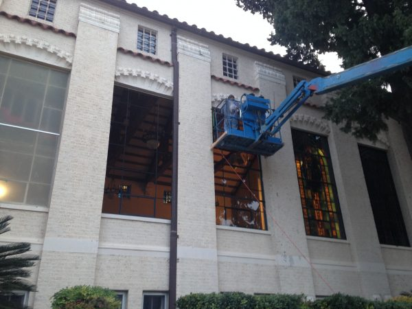 Installation of the new protective glazing