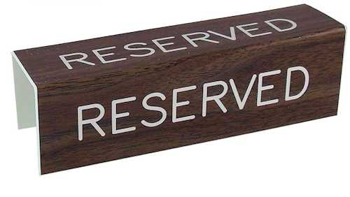 3 sided Reserved Sign for Pew Seats Walnut Grained