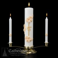 Wedding Unity Candle Set | Gold and Cream - ChurchSupplies.com