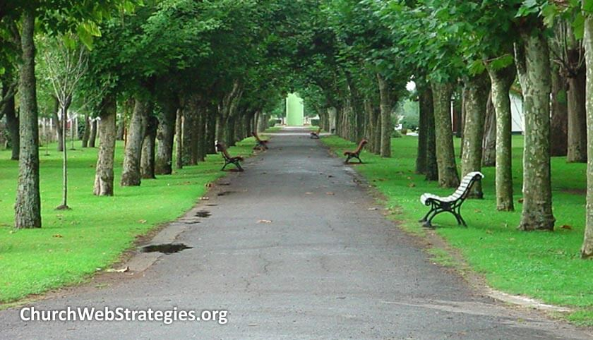 path lined with park benches at a park