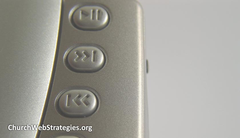 close-up of buttons for play, previous, and next