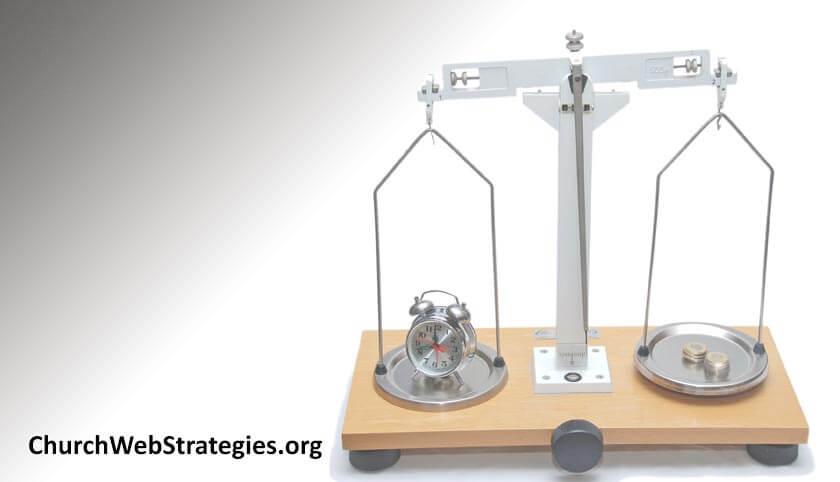 balance weighing a clock and money